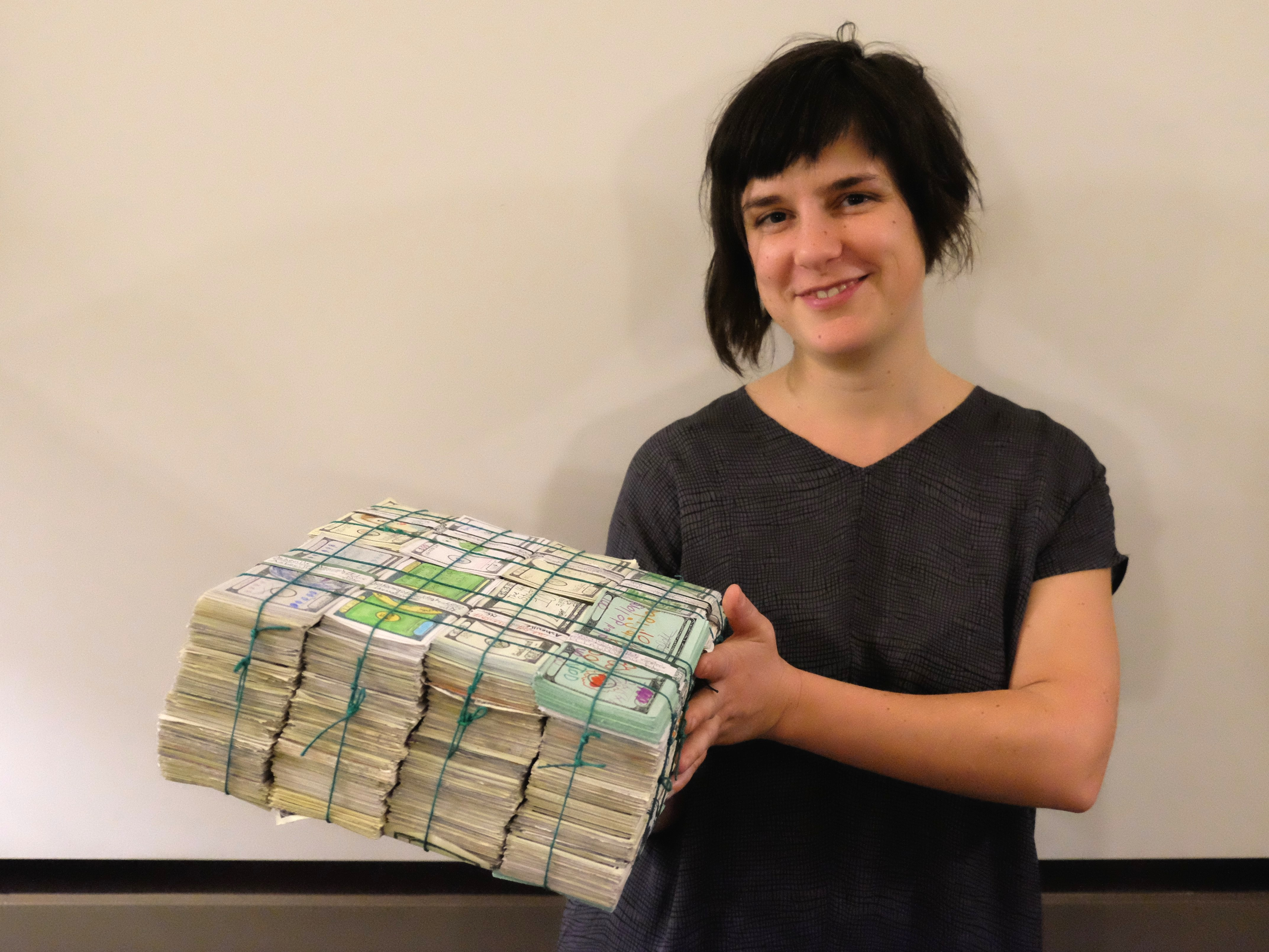 Amanda Wiles and a brick of nearly 8000 individual Fundreds